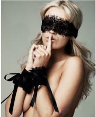 眼罩手圈三件组 性感透明蕾丝眼罩SP217