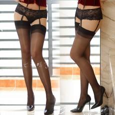情趣丝袜诱惑 性感长筒袜 油亮宽边透明丝袜性感情趣内衣WZ7053