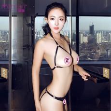情趣内衣三点式套装 性感开裆露乳仿皮绑带连体衣NY9561