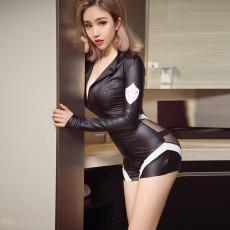 情趣内衣 性感紧身女警连体衣 仿皮赛车女郎制服诱惑角色扮演1850
