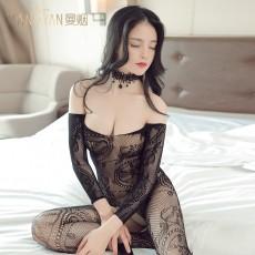 情趣丝袜圆领精美提花性感开裆连身袜长袖连体丝袜情趣内衣WY1272