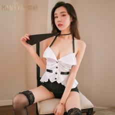 情趣内衣挂脖OL秘书装性感包臀短裙套装2086