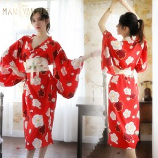 情趣内衣日式樱花印花少女深V长款和服9629