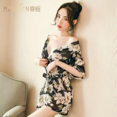 曼烟情趣内衣透视开襟和服印花系带浴袍制服套装9727