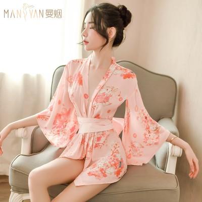 情趣内衣日系性感印花猫蝴蝶结和服浴袍套装9726
