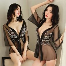 曼烟情趣内衣性感开襟系带免脱透视刺绣睡裙套装9703