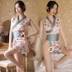 情趣内衣女性感开衩日式印花蝴蝶结睡衣和服套装9767