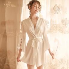 情趣内衣性感系带开襟免脱刺绣花边长袖睡袍浴袍诱惑9763
