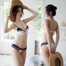 曼烟情趣内衣女式性感可爱学生泳衣三点式比基尼制服诱惑套装9774