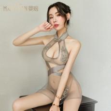 情趣内衣性感复古透视镂空提花高叉旗袍制服诱惑套装9705