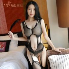 情趣内衣性感镂空束身三点式吊带袜渔网袜连身袜7107