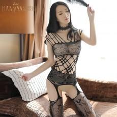 情趣内衣女性感网纹镂空透视吊带连体衣连身体袜开档免脱7108