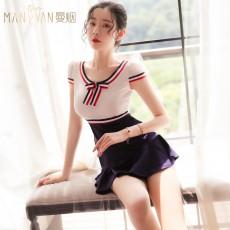 情趣内衣可爱蝴蝶结条纹短袖秘书紧身装制服套装9231