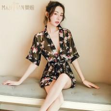 曼烟情趣内衣女式性感透视印花系带和服睡衣浴袍套装9509