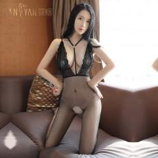 曼烟情趣内衣吊带Y型挂脖露背镂空渔网袜连身体袜7046