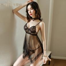 【天猫】情趣内衣深V透明露乳睡裙 性感露背吊带睡衣NY9003