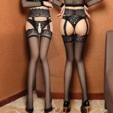 情趣内衣性感蕾丝宽边吊袜带一体开档丝袜长筒袜网袜7096