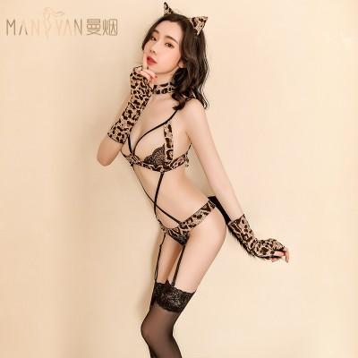 情趣内衣女式性感豹纹系带三点连体衣猫女制服诱惑套装9211
