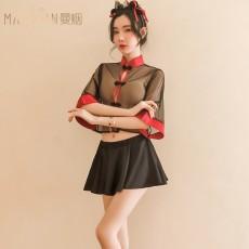【天猫】曼烟性感透视时尚古风旗袍中国娃娃制服套装9214