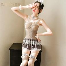 【天猫】曼烟情趣内衣女式性感吊带透视蕾丝猫女郎装网衣9260