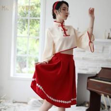 【天猫】曼烟女式性感复古风广袖长袖旗袍和服制服诱惑套装9781