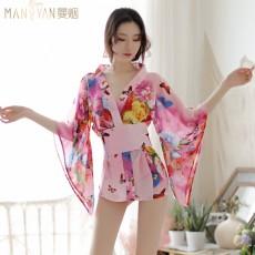 【天猫】曼烟女式性感日系印花和服浴袍制服诱惑套装1660