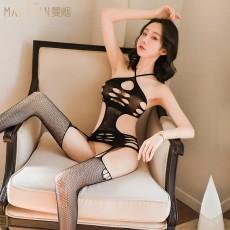 【天猫】曼烟性感挂脖镂空开档连身袜网袜WY9267