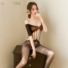 【天猫】曼烟女式性感镂空透视中袖网衣连身袜WY9305