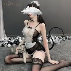【天猫】女士情趣内衣 女佣八件套  性感透明蕾丝女仆制服套装 角色扮演TNY1604
