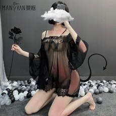 【天猫】曼烟女式性感浪漫蕾丝吊带睡裙风情套装1818