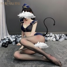 【天猫】网红风曼烟情趣内衣性感透明薄纱空姐套装爆乳露背水手服制服诱惑NY9484
