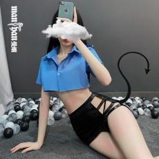 【天猫】网红风曼烟情趣内衣女式性感分体蕾丝拼接包臀短裙女警制服诱惑套装9740