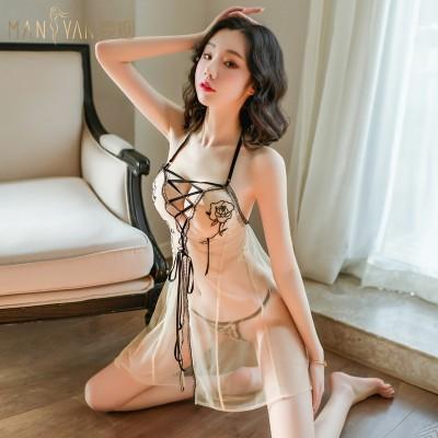 【天猫】曼烟女式性感透视绑带挂脖玫瑰睡裙9293