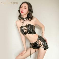 【天猫】曼烟女性感抹胸皮衣绑带三点式制服诱惑9276