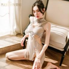 【天猫】曼烟女式性感镂空蕾丝复古透视旗袍制服9215