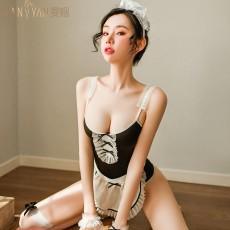 【天猫】曼烟性感蕾丝吊带连体衣暗扣开档女仆装9348