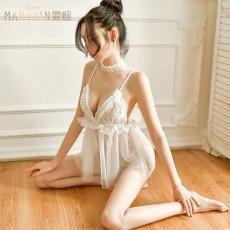 【天猫】曼烟女式性感透视蕾丝花边吊带短裙9248