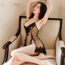 【天猫】曼烟女式性感透视绑带柔纱吊带睡裙套装9784