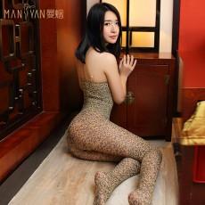 【天猫】曼烟女式性感吊带豹纹连身袜开档免脱7930