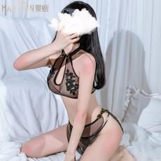 【天猫】曼烟情趣内衣性感复古透视提花分体旗袍短裙套装9219