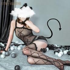 【天猫】网红风曼烟女式性感蕾丝透视吊带连体衣网衣猫女套装9260