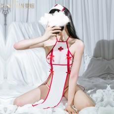 【天猫】曼烟女式性感透视挂脖系带护士装睡裙套装9704