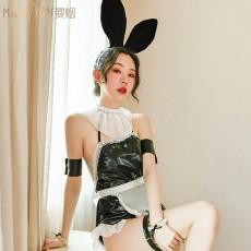 【天猫】曼烟女式性感漆皮挂脖连体夜店女仆兔女郎套装TNY9514