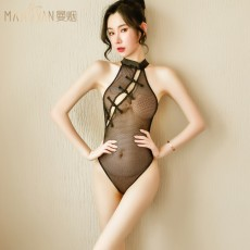 【天猫】曼烟女式性感透视古典网纱旗袍连体网衣9444