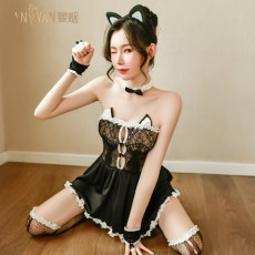 【天猫】曼烟性感蕾丝抹胸透视温柔小女仆猫女睡裙套装9436
