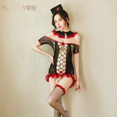 【天猫】曼烟女式性感镂空网纱护士套装9419