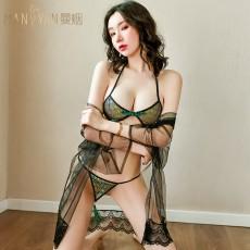 【天猫】曼烟女式性感孔雀流苏提花三点浴袍外套套装9498