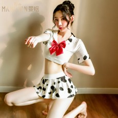 【天猫】曼烟女式分体白色奶牛学生装百褶裙制服套装9467