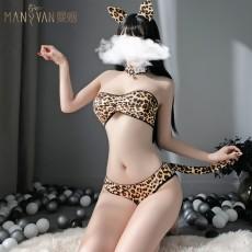 【天猫】曼烟性感豹纹抹胸三点比基尼猫女套装网红风9539