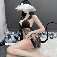【天猫】曼烟透视开襟睫毛蕾丝吊带睡裙网红风1912